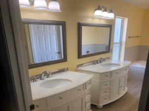 bathroom remodel with individual vanities