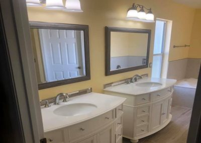 bathroom remodel with individual vanities