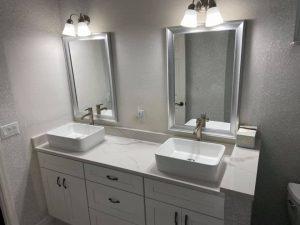 remodeled white bathroom
