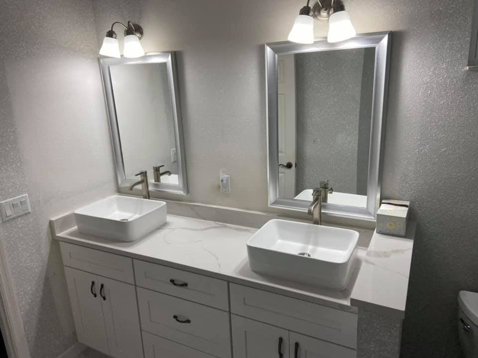 remodeled white bathroom