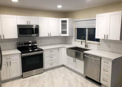 kitchen remodel in white cabinets